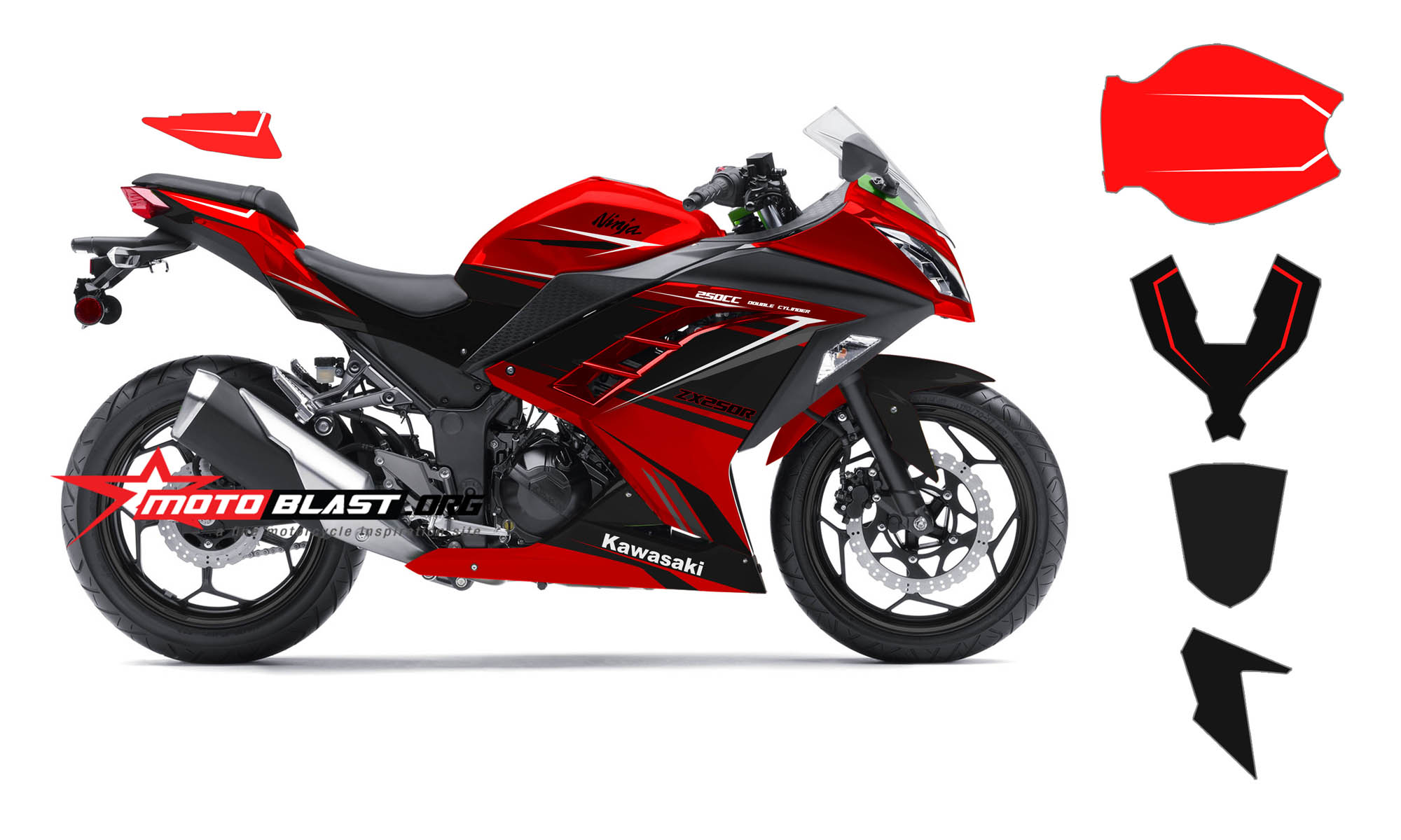 Top modifikasi ninja 250 fi warna merah