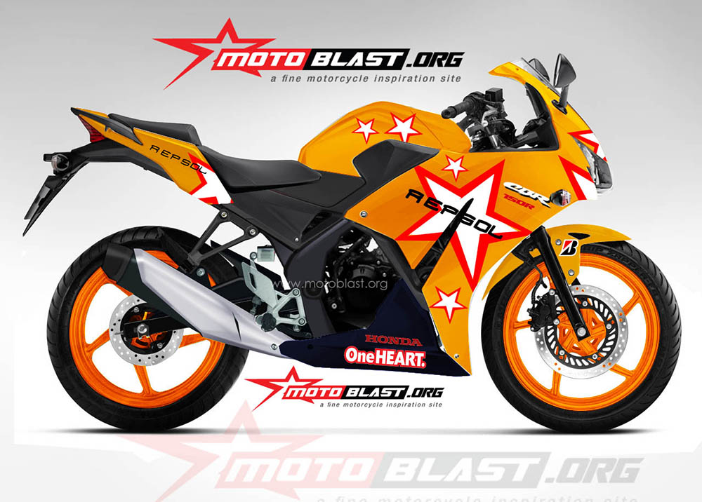 Modif striping honda cbr150r lokal - repsol motogp 2011 - casey stoner!! | MOTOBLAST