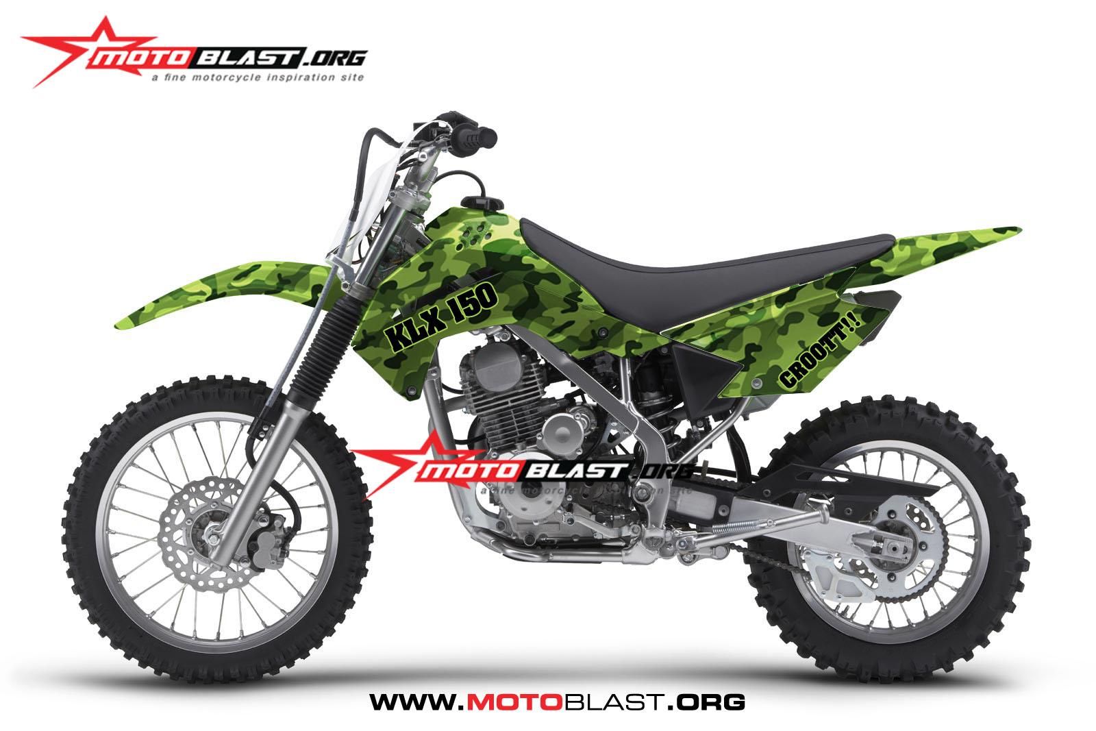 Grafis inspirasi modif striping kawasaki klx 150 army motoblast