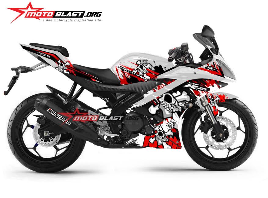 Graphic Kit Yamaha R15 White red Skull Monster New