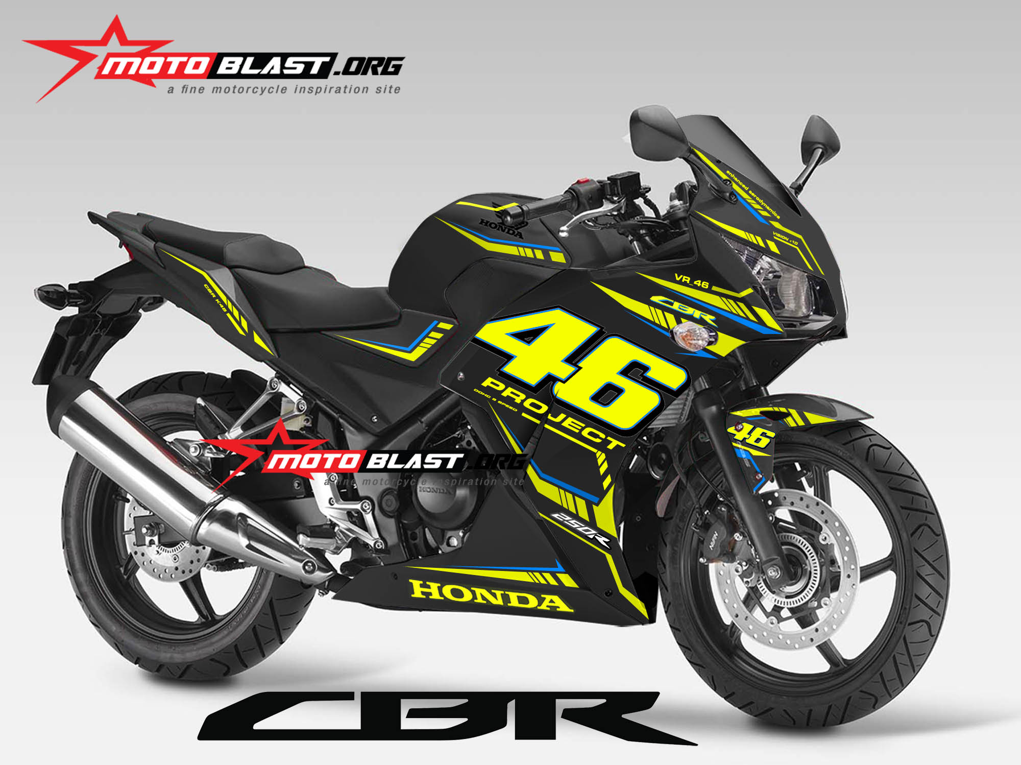 Graphic Kit Honda CBR250R/150R K45 LOKAL Black – VR_46 Project