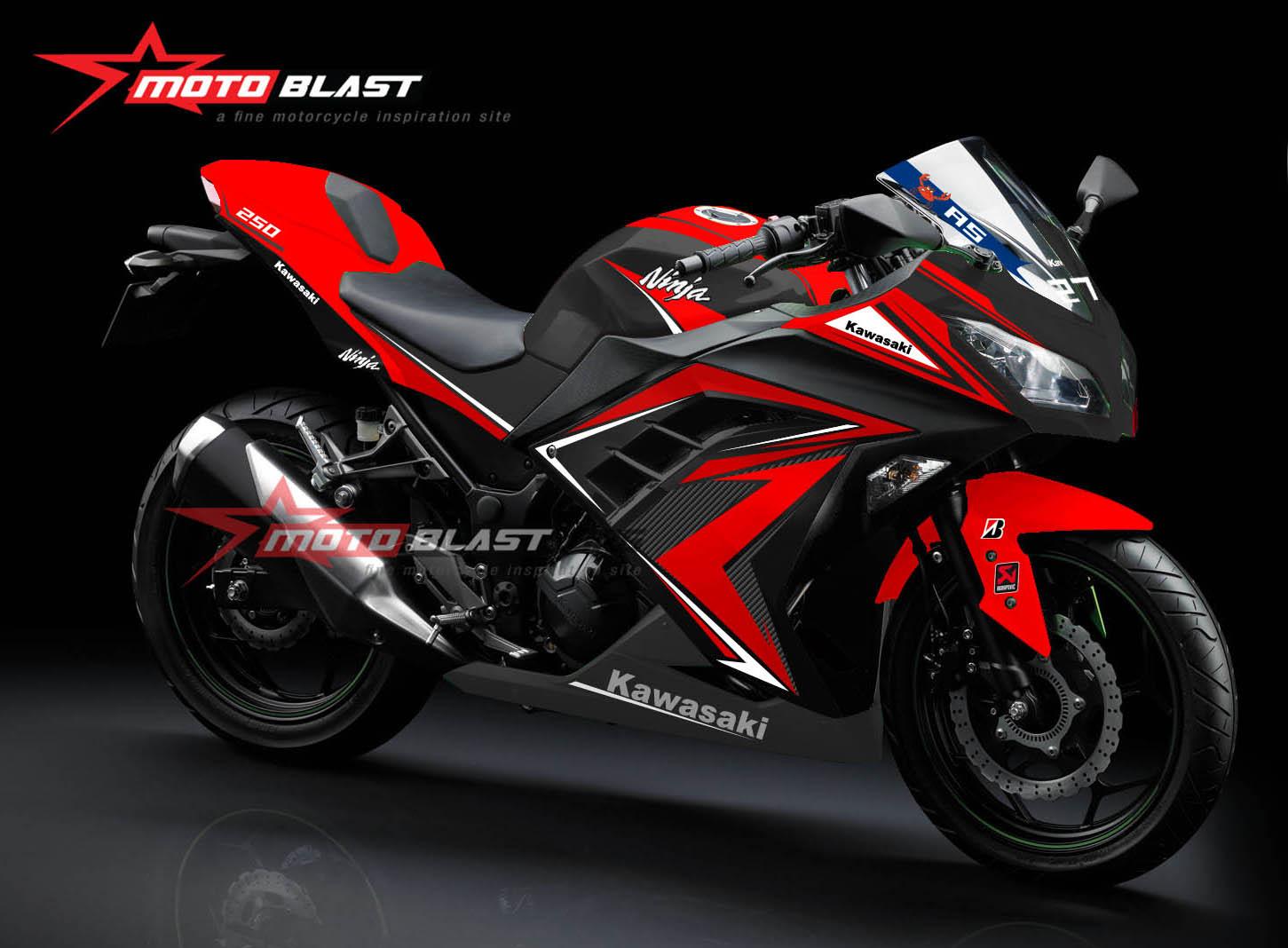 Graphic kit Kawasaki Ninja 250R Fi black Slash red