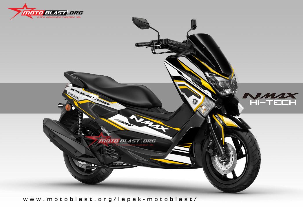 graphic kit yamaha nmax black white super hi tech motoblast