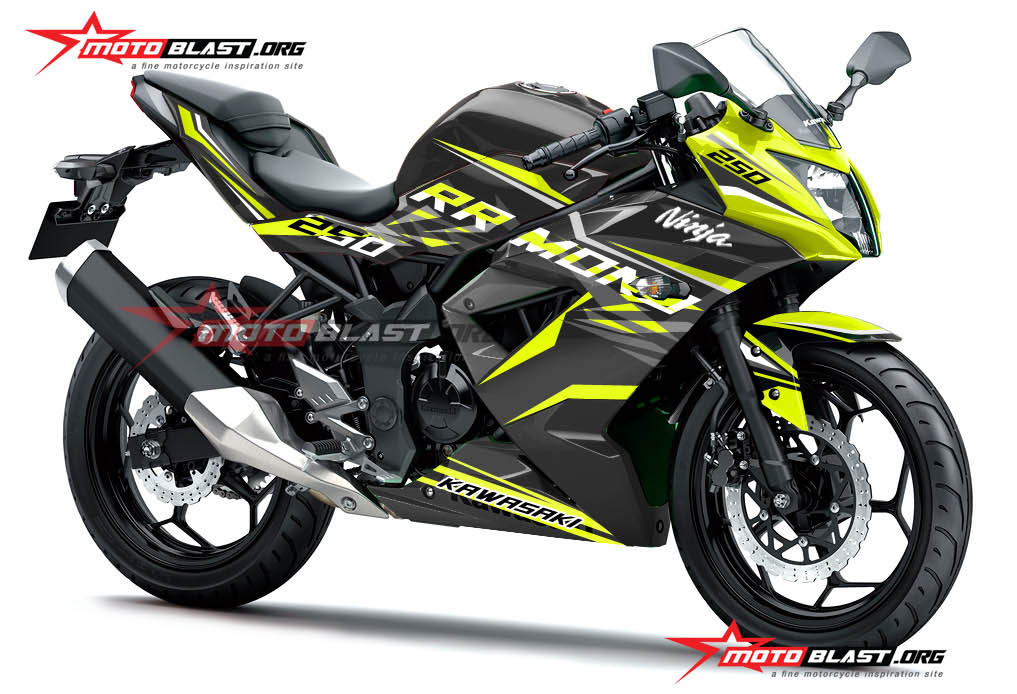Modifikasi striping Kawasaki Ninja 250RR Mono Black Thunder Lemon Fresh