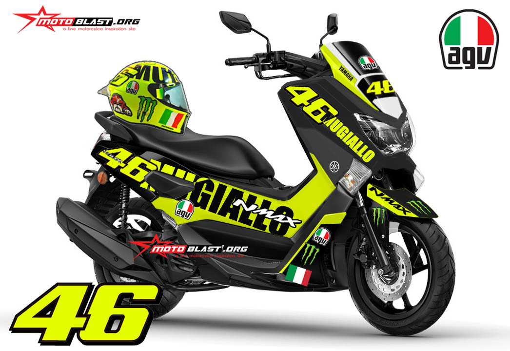 Kit Yamaha NMAX Black ala Helmet AGV special sirkuit Mugello 2016 VR46