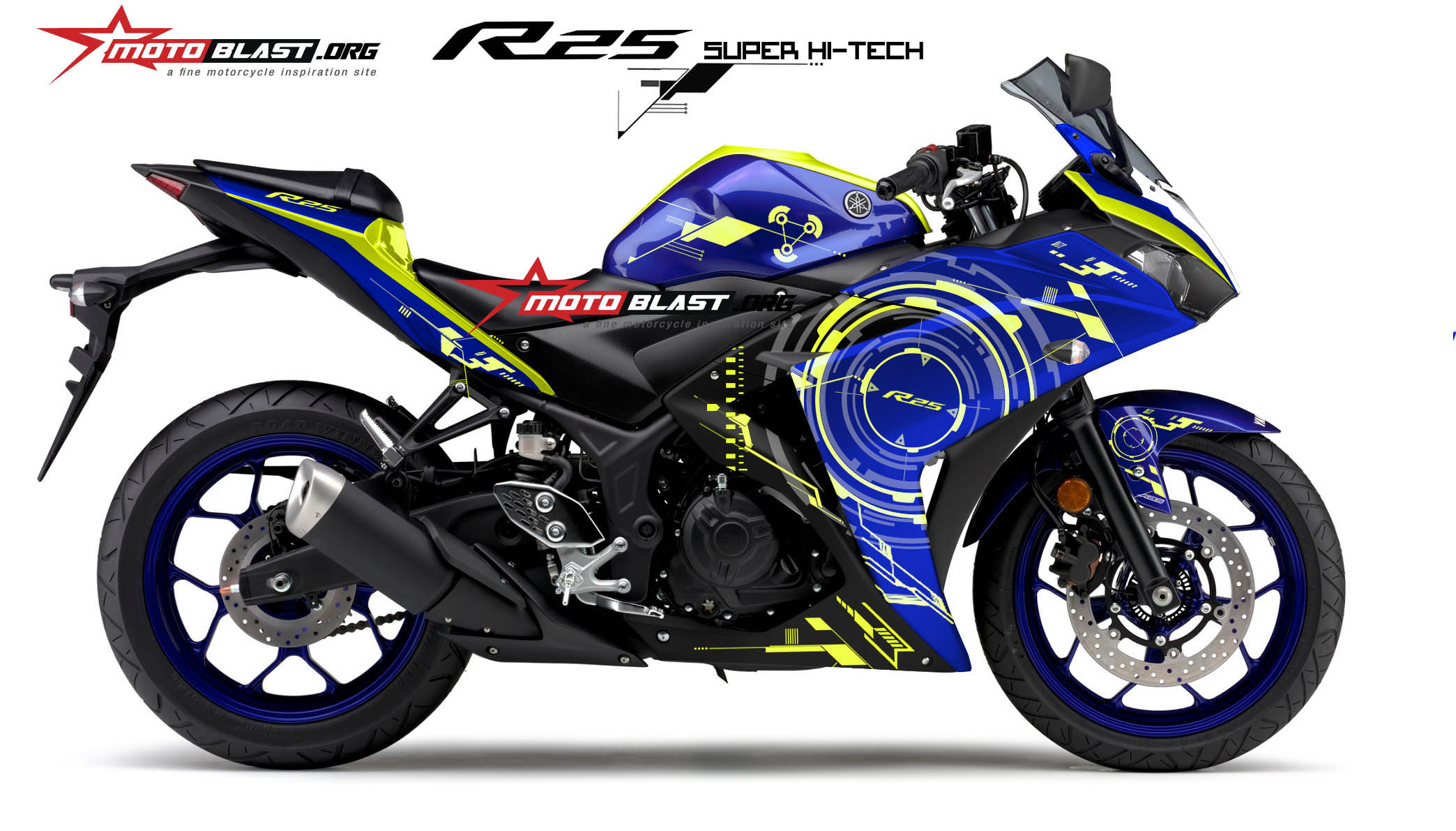 Graphic Kit Yamaha R25 – R3 Blue Super HI-TECH