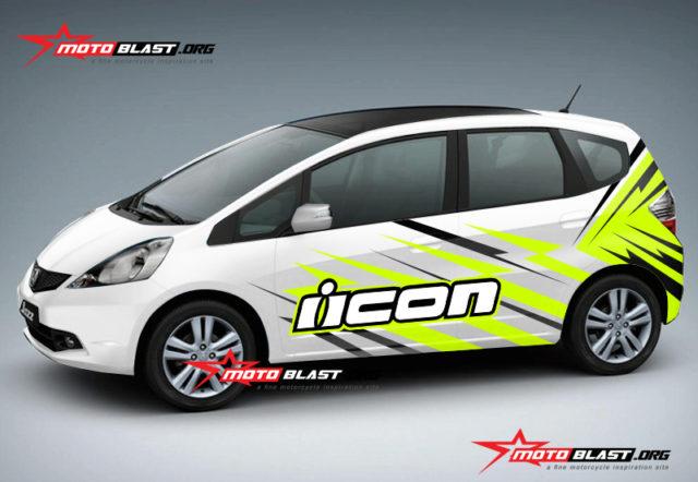 Modifikasi Striping Honda Jazz White Icon slash