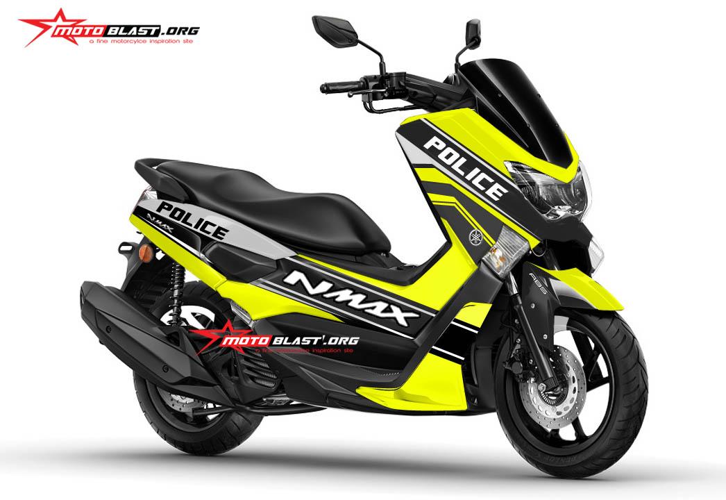 Modifikasi striping Yamaha NMAX Black Police green lime  MOTOBLAST