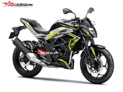 Modifikasi striping Kawasaki Z250SL black yellow