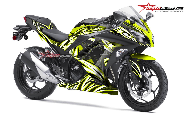 Modifikasi Striping kawasaki Ninja 250R Black Star Green lime