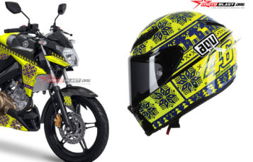Modifikasi striping Yamaha NVA 2016 Raptor Black ala AGV Winter Test 2 VR46 Helmet