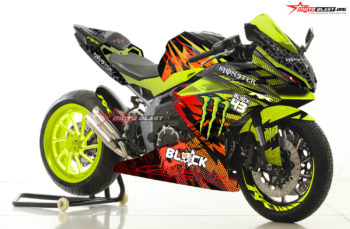 Modifikasi Striping Honda CBR250RR Kenblock Monster Drift Green