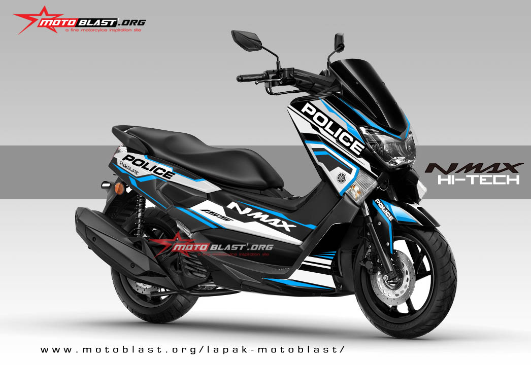modifikasi striping yamaha nmax black police hitech v2. Black Bedroom Furniture Sets. Home Design Ideas