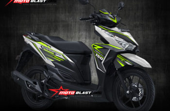 Modifikasi Striping Honda Vario 150 White carbon Green lime