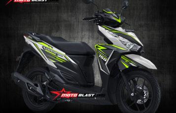 Modifikasi Striping Honda Vario 150 White carbon Green lime