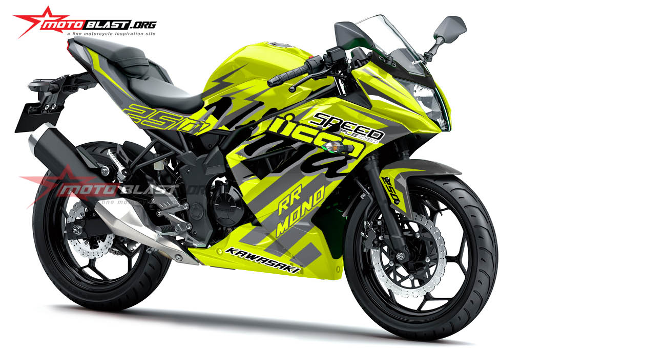 Modifikasi Striping Kawasaki Ninja 250RR Mono Green lime