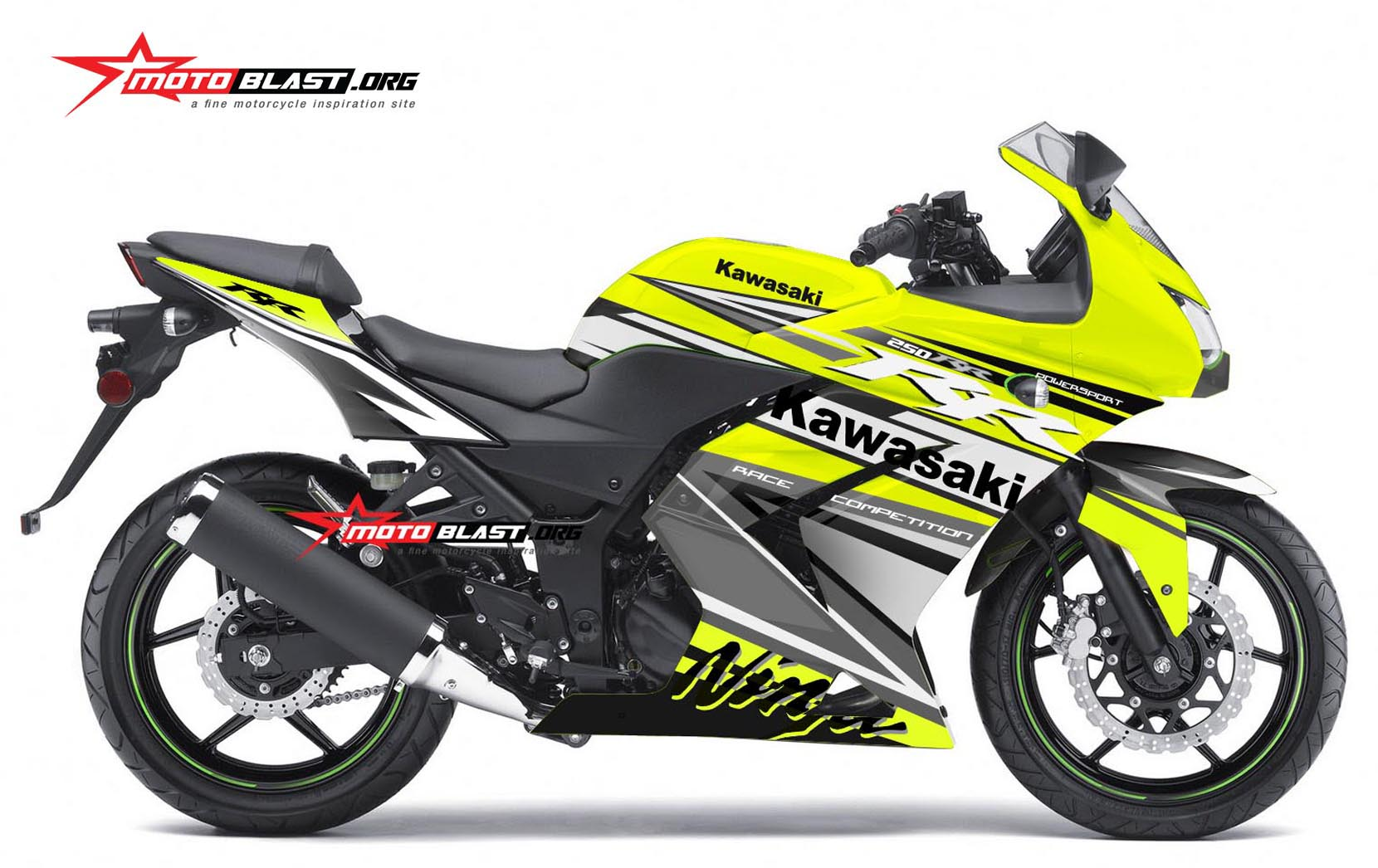 modifikasi striping kawasaki ninja 250r karbu green lime