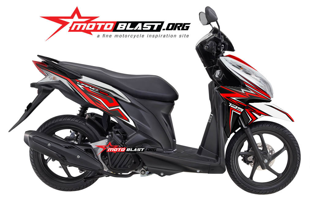 Modifikasi Motor Matic Vario 125 Fi Striping White Red