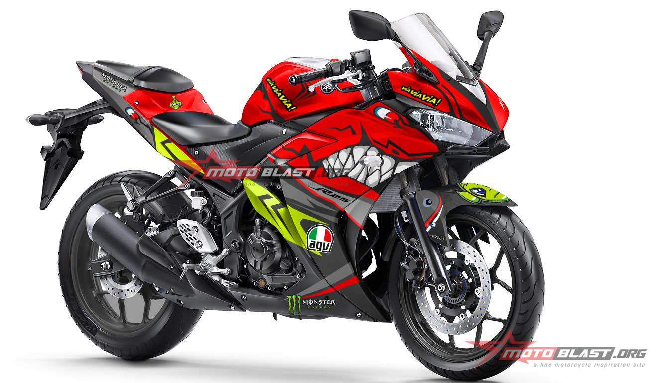 Modifikasi Striping Yamaha R25 Red Shark  MOTOBLAST