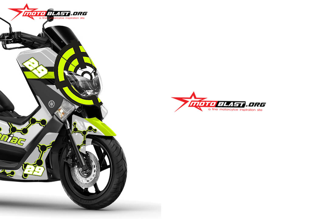 modifikasi striping yamaha nmax white  maniac motogp