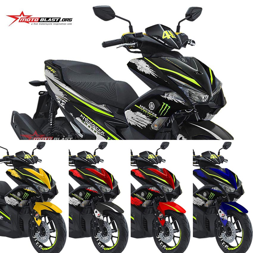 modifikasi striping yamaha aerox vva monster energy